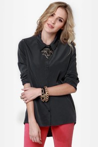Back on Track Grey Button-Up Top at Lulus.com!