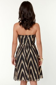 Aryn K Opti-Gold Illusion Strapless Black Dress at Lulus.com!
