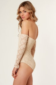 Off-the-Shoulder and Wiser Beige Lace Bodysuit at Lulus.com!