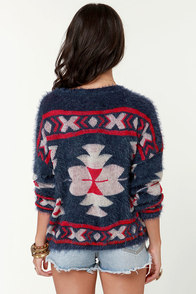 Fuzzed Forward Fuzzy Blue Sweater at Lulus.com!