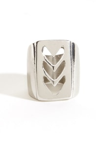 Chev-olution Silver Chevron Ring at Lulus.com!
