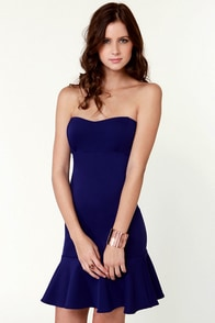 Trumpet Vine Strapless Blue Dress at Lulus.com!