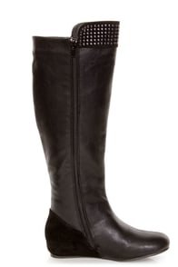 Promise Ermina Black Knee High Studded Riding Boots at Lulus.com!