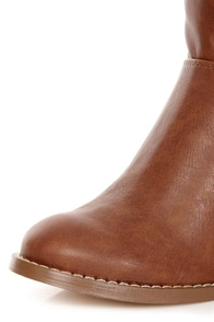 Soda Now Cognac Slouchy Knee High Heel Boots at Lulus.com!