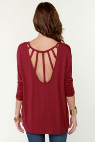 Cage-Phrase Long Sleeve Wine Red Top at Lulus.com!