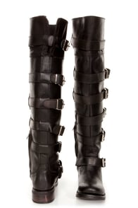 Zigi Girl Tackle Black Leather Belted Over-the-Knee Boots at Lulus.com!