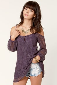 In Good Shake-spirits Off-the-Shoulder Purple Lace Tunic Top at Lulus.com!