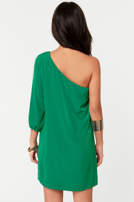C'mon Get Happy One Shoulder Jungle Green Dress at Lulus.com!