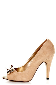 My Delicious Idol Oatmeal Metal Bow Peep Toe Pumps at Lulus.com!