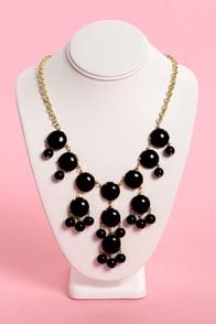 Zad Drop a Glint Black Statement Necklace at Lulus.com!