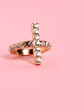 Cross-ton Tea Party Gold Ring at Lulus.com!