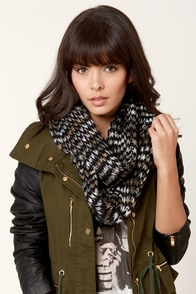 Tuxedo Mocha Black and Brown Infinity Scarf at Lulus.com!