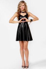 Heart Times Black Vegan Leather Dress at Lulus.com!