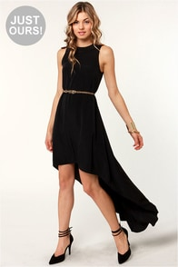 LULUS Exclusive Float On Black High-Low Dress at Lulus.com!