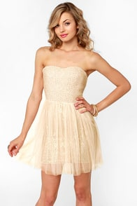 Flower Boucle Strapless Blush Sequin Dress at Lulus.com!