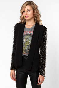 Sleeve-ning Edition Beaded Black Blazer at Lulus.com!