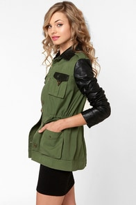 Rebel Yell Army Green and Vegan Leather Military Jacket at Lulus.com!