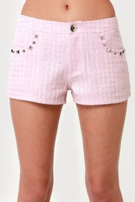 Let Tweed-om Ring Pink Studded Boucle Shorts at Lulus.com!