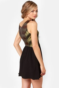 Ladakh Glam Black Brocade Dress at Lulus.com!