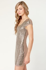 Mirror, Mirror Studded Taupe Dress at Lulus.com!