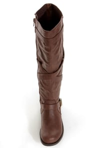 Soda Warm Dark Tan Back Gusset Belted Riding Boots at Lulus.com!