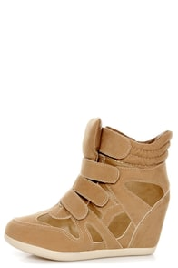 Wild Diva Lounge Bubble 04A Taupe Wedge Sneakers