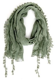 Pom Pom Patch Sage Green Scarf at Lulus.com!