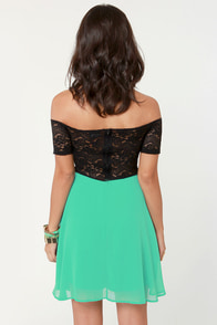 Flare for the Chromatic Sea Green and Black Lace Dress at Lulus.com!