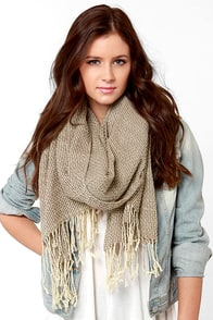First Sip Two-Tone Taupe Scarf at Lulus.com!