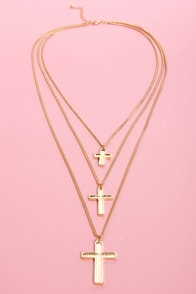 Triple Play Cross Layered Necklace at Lulus.com!