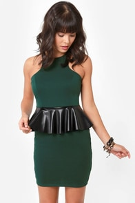 Show on the Road Dark Teal Peplum Dress at Lulus.com!