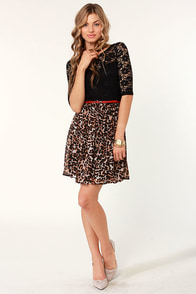 Lure du Jour Lace and Leopard Print Dress at Lulus.com!