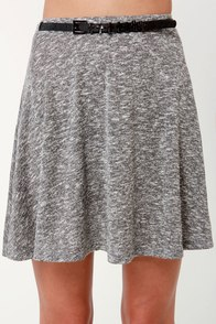 Like a Cross Belted Heather Grey Skirt at Lulus.com!