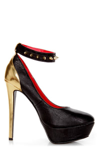 Promise Saxicola Black and Gold Spiked Platform Pumps at Lulus.com!