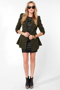 Shaded Creek Army Green Coat at Lulus.com!