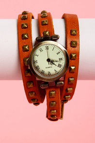 What Makes You Tick Tan Studded Wraparound Watch at Lulus.com!
