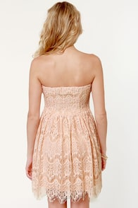 Cake Topper Strapless Pink Lace Dress at Lulus.com!