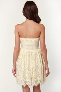 Cake Topper Strapless Cream Lace Dress at Lulus.com!