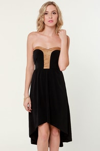 Ra Ra Renegade Strapless Studded Black Dress at Lulus.com!