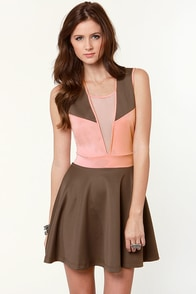 Object of My Confection Pink and Brown Dress