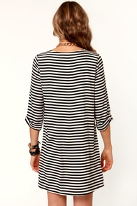 Finish Line Black & Ivory Striped Shift Dress at Lulus.com!