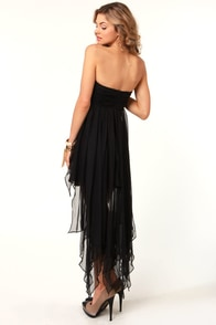 Shredded Sweet Strapless Black Dress at Lulus.com!