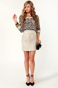 Tweed-ful Things Studded Gold Skirt