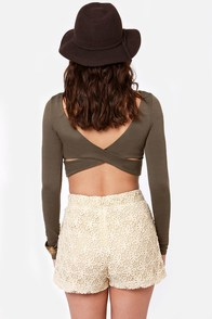 Lacy Duke Beige Lace Shorts at Lulus.com!