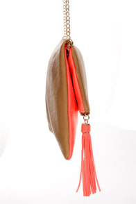 What's Neon, Pussycat? Tan and Neon Coral Clutch at Lulus.com!