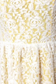 Daisy'd and Infused Yellow and White Lace Dress at Lulus.com!