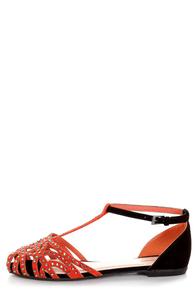 Bamboo Lynna 01 Orange and Black Rhinestone Studded Flats at Lulus.com!