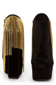 Privileged Moks Black Chain Dangling Heelless Platform Booties at Lulus.com!