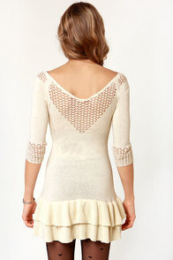 LULUS Exclusive Snow Bunny Cream Mini Dress at Lulus.com!