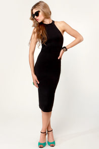 LULUS Exclusive Body-Con Artist Black Halter Dress